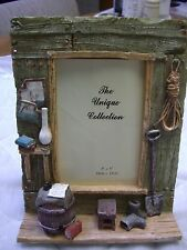 "Unique Collection Ceramic Rustic Cabin Photo Frame (8.5"" Tall x 6 4/5"" Wide)"