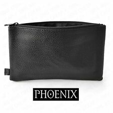 PHOENIX PENCIL CASE LEATHER LOOK FAUX BLACK LEATHER