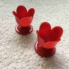 Vintage Retro 1960s Pair 2 Red Plastic Tulip Shaped Egg Cups Quirky Unusual