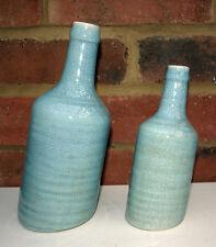 Par Florero Azul Botella inclinación Diseño Con Shabby Chic Crackle Esmalte De Cerámica Nuevo