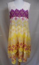 Diane Von Furstenberg Fay Crinkle Dress 2 Cotton Silk Gauzy Flared Yellow White