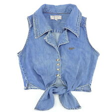 Vtg 80's GUESS Georges Marciano Denim Sexy Tie Front Crop Top/Vest M Pinup/Bow