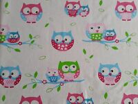 100% Cotton Fabric Pink Owls 160cm(63 in) Baby Nursery Craft Bedding half meter