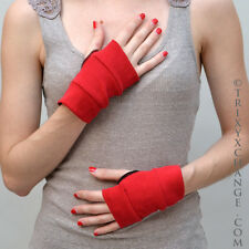 1011 Red Short Cotton Fingerless Gloves Steampunk Mad Max Burning Clothing Man