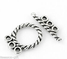 "30 Sets Silver Tone Toggle Clasps Findings 16x12mm(5/8""x4/8"") 18x5mm(6/8""x2/8"")"