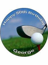 "Novelty Personalised Golf Course 7.5"" Edible Wafer Paper Cake Topper party"