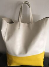 NWT Authentic Celine Yellow & White Bi- Cabas Leather Tote Bag Made In Italy