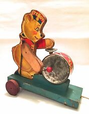 Teddy the Drummer #775 Fisher-Price (1936 Rare Wooden Pull Toy) Made in USA