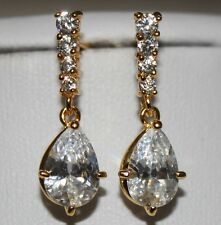 Bridal 18K Gold Plated AAAA+ Swiss Cubic Zirconia Stud Dangle Drop Earrings UK