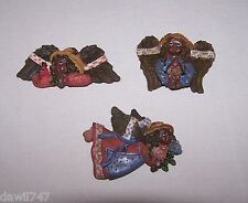 SET OF 3 MINIATURE AFRICAN AMERICAN ANGEL REFRIGERATOR MAGNETS
