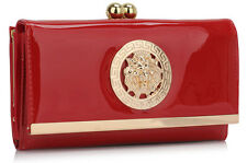 Ladies Women's Kiss Lock  Long Clutch Designer Patent Purse Wallet Coin Bag