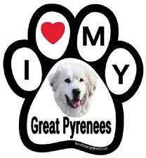 "I Love My Great Pyrenees Dog Paw Car Fridge Magnet Large 6"" Colorful Gift"