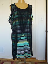 NWT, Artex Fashions 2pc set: sleeveless striped dress and mesh cover up in sz 3X