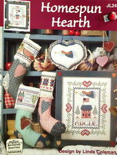 PATTERN counted cross stitch HOMESPUN HEARTH angel sampler christmas stocking