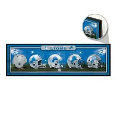 "DETROIT LIONS HELMET DESIGN THROUGHOUT THE YEARS WOOD SIGN 9""x30"" NEW WINCRAFT"