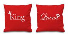 Rey y reina Roja Corona Cushion Covers parejas presentes Dormitorio Día De San Valentín