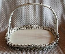 Vintage White Wicker Basket Tray Fluted Edges Double Handle Wooden Base