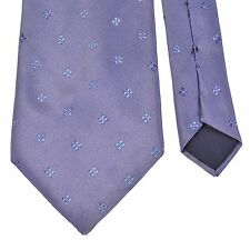 Lanvin Paris Made in France Blue Gray Satin Woven Floral Spotted Silk Tie