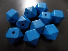 10pcs 20mm Wooden Geometric Wood Beads - BLUE