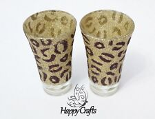 Glitter Animal Leopard Print Glitter Shot Glasses Set of 2 Gold & Brown