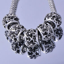 5pcs Tibetan Silver Flower European Spacer Beads Lot Fit European Charm Bracelet