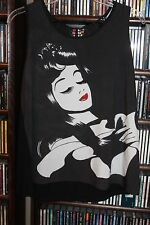 Disney Couture Snow White Rhinestone Lips Lace  Back  T Tee Shirt  L ( bin101)