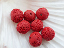 5 x intagliati RED Cinnabar ECOPELLE LACQUERWARE Rondelle Perline 17mmx15mm, perline in resina