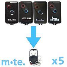 5 x Boss/Guardian/Steel-Line 2211L Compatible Garage Door Remote BHT4/BOL4/BRD1