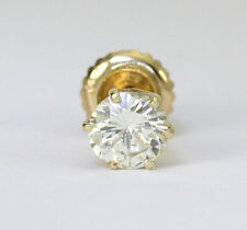 Diamond stud SINGLE earring 14K yellow gold VS2 round brilliant screw back .40CT