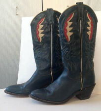 Acme Vintage Western Boots Womens 8 Rare Red White Blue Leather Inlay Usa Pride
