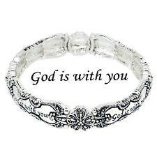 Spoon Jewelry Bracelet Stretch Bangle Message Bangle Prayer SILVER God Is With