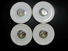 Lot FOUR VINTAGE PLATES THE HARKER POTTERY CO 22 KT GOLD TRIM COLONIAL USA 10""