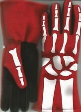 Auto Racing Nomex Gloves Skeleton, Driver Fireproof Racing Skull Bones Gloves