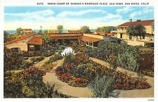 SAN DIEGO CA INNER COURT OF RAMONAS MARRIAGE PLACE IN OLD TOWN POSTCARD c1930s