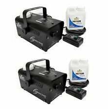 Chauvet DJ Fog Smoke Machines with Fog Fluid and Wired Remote (2 Pack)
