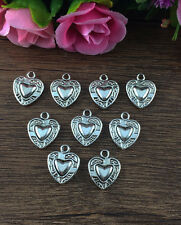 Wholesale 12pcs Tibet silver Heart Charm Pendant beaded Jewelry Findings DIY !!!