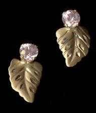 14K Solid Yellow Gold Round Crystal Pink CZ Leaf Leaves Plant Stud Earrings Iw