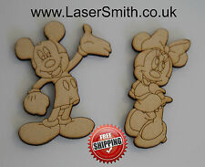 MICKEY & MINNIE MOUSE ETCHED SHAPES, 100mm high, 3mm MDF Shape Embellishment