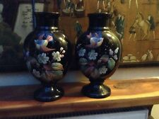 A Large Pair Of Antique Hand Painted Vases