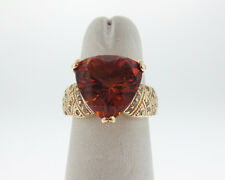 Estate Natural Trillion Citrine Diamonds Solid 14k Yellow Gold Cocktail Ring