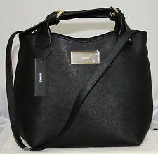 NEW DKNY BLACK SAFFIANO LEATHER CROSSBODY SHOULDER CONVERTIBLE TOTE BAG PURSE