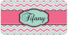 Personalized Monogrammed Chevron Pink TurquoiseLicense Plate Custom Car Tag L326