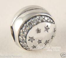 TWINKLING NIGHT Authentic PANDORA Silver/Clear CZ MOON STARS Clip Charm/Bead NEW