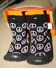 SALE:very comfy,black w /PINK PEACE DESIGNS sock shoes,soft rubber soles(13.5cm)