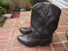 mens size 8 1/2 D leather boots Dingo brand Black 13 in high 1 5/8 inch heel EUC