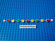 Lego White String of Lights: Trim Christmas Tree Decorate House Red Yellow Green