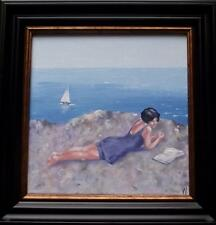 "Sound of the Sea  :  Nostalgic Lady Original Oil Painting  Wendy Warwick 8"" X 8"""