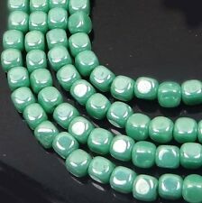 4mm Czech Glass Cube Beads Luster Opaque Turquoise (100)