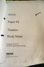 ACCA F6 KAPLAN TAXATION STUDY NOTES- Act 2013 for 2014 Examination Sittings