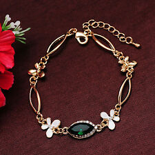 18k Plated Austrian Crystal Green White Enamel Bracelet Bangle Gift Jewellery